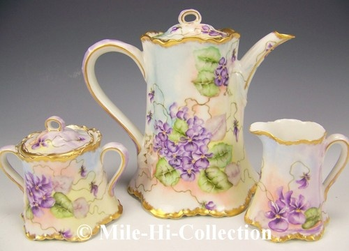 1907 Limoges Haviland Hand Painted Violets Coffee Set | EBay Artist Signed  U0026 Dated  Nice Look