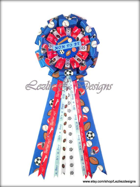 Mom to Be or Dad to Be - All Star Sports Theme - Baby Shower Corsage Capia Favor Mum Keepsake Ribbon Pin Baseball Football Soccer Basketball
