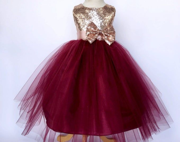 Sequin Kids Girls Flower Lace Wedding Bridesmaid Pageant Party Formal Dress 2-8T