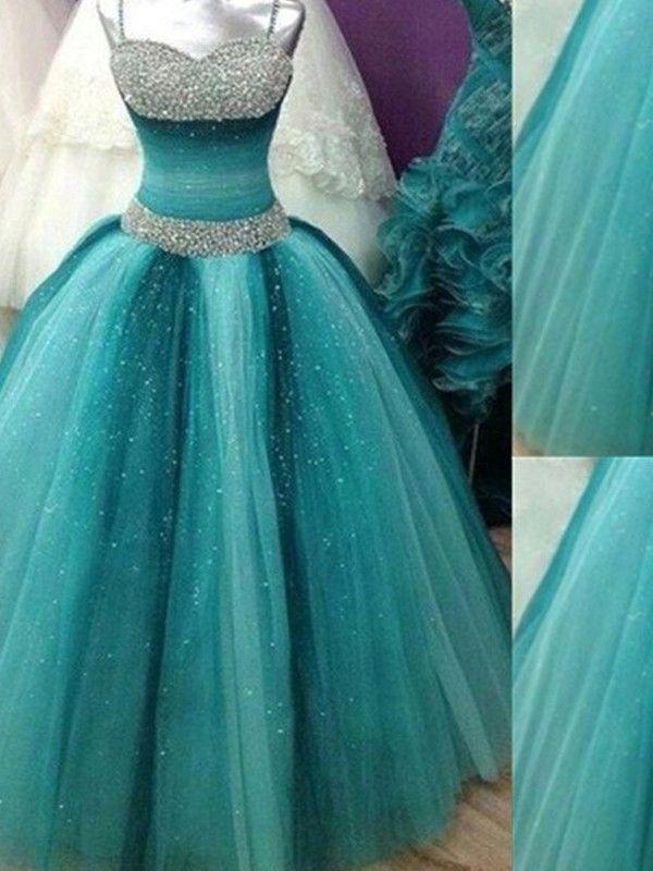 Duchesse-Linie Spaghettiträger Ärmellos Perlen verziert Tüll Bodenlang Kleider