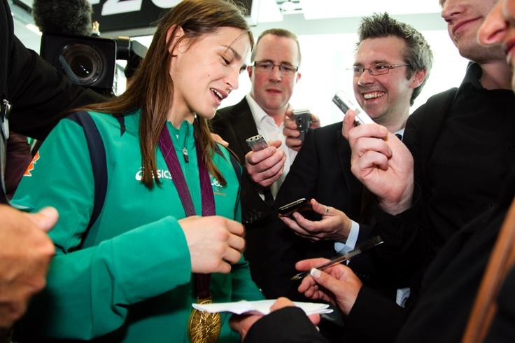 Katie Taylor talks to the press at Dublin Airport #TeamIreland #Olympics #London2012 #Dublin #Ireland