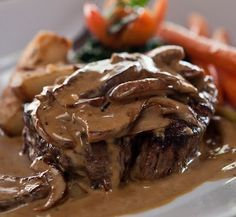 Steak Diane  ~  The luscious cognac cream sauce with grilled mushrooms is absolutely gorgeous and served over a perfectly cooked Filet Mignon, with potato dauphinoise
