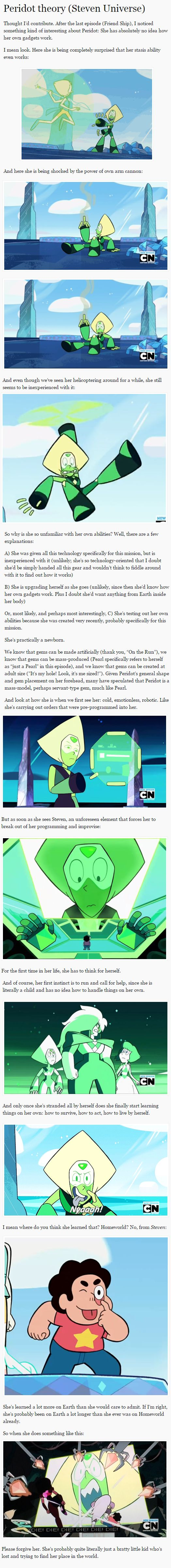 I think Peridot is either a young gem, or has never been in battle or anything like that which would require the use of her weapons.