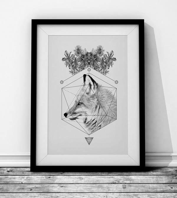 Fox Wieprz design Studio. #fox #cute #geometry #poster #illustration #sketch