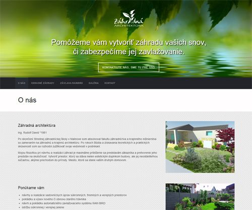 Website created from a web template for gardening and watering company Záhradná architektúra. See live: www.zahradna-architektura.com