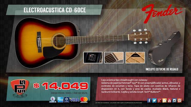 """La Púa San Miguel: ELECTROACÚSTICA """"FENDER"""" CD-60CE - Incluye estuche..."""