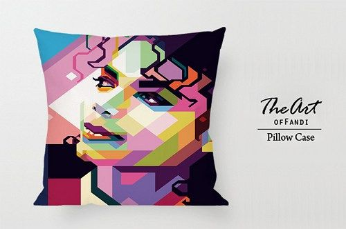 "Michael Jackson in WPAP - Custom Square 18""x18"" One Side Pillow Case"