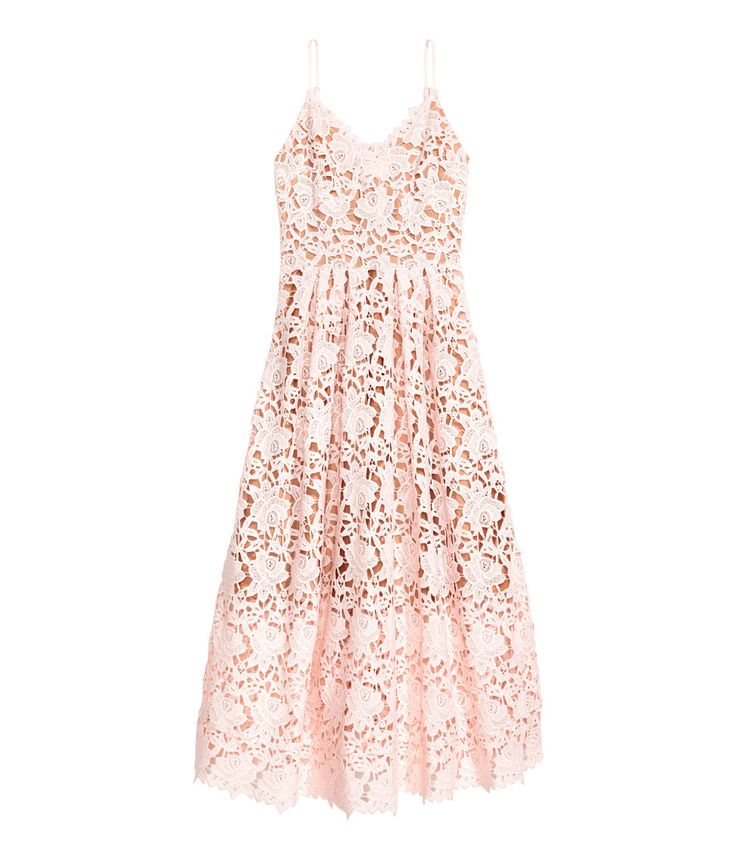 Light pink. Calf-length dress in lace. V-neck, narrow, adjustable shoulder straps, concealed zip at back, seam at waist with pleats, and full skirt. Jersey