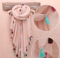 Nueva europa comercio exterior original solo color de la borla de color debe llano de la bufanda bufandas chales de algodón voile
