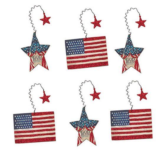 American Flag Glitter Star Ornament Set Red Vintage Wooden