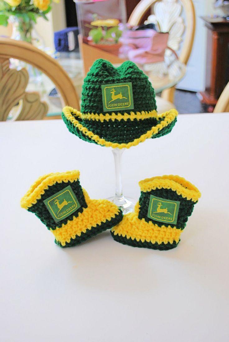 Deere Infant Hat Crochet Pattern : Crochet John Deere Inspired Cowboy Hat and by ...