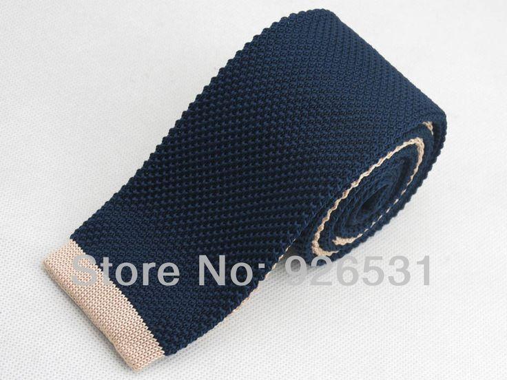 Вязание галстук / морской синий и beige head пэчворк узор дизайн / тёмно-синий мужчины в аксессуары перевязка
