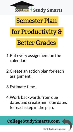 Semester Plan for Productivity  Better Grades Always Learning