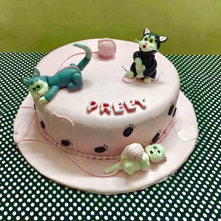 Kitty Themed Cake - chocolate cake with vanilla buttercream and chocolate ganache