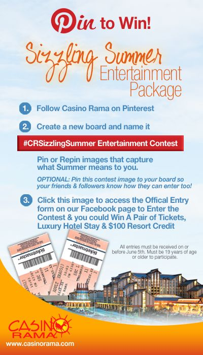Pin for your chance to win a Casino Rama Entertainment Getaway that includes the hot summer concert of your choice!  #LuckLivesNorth