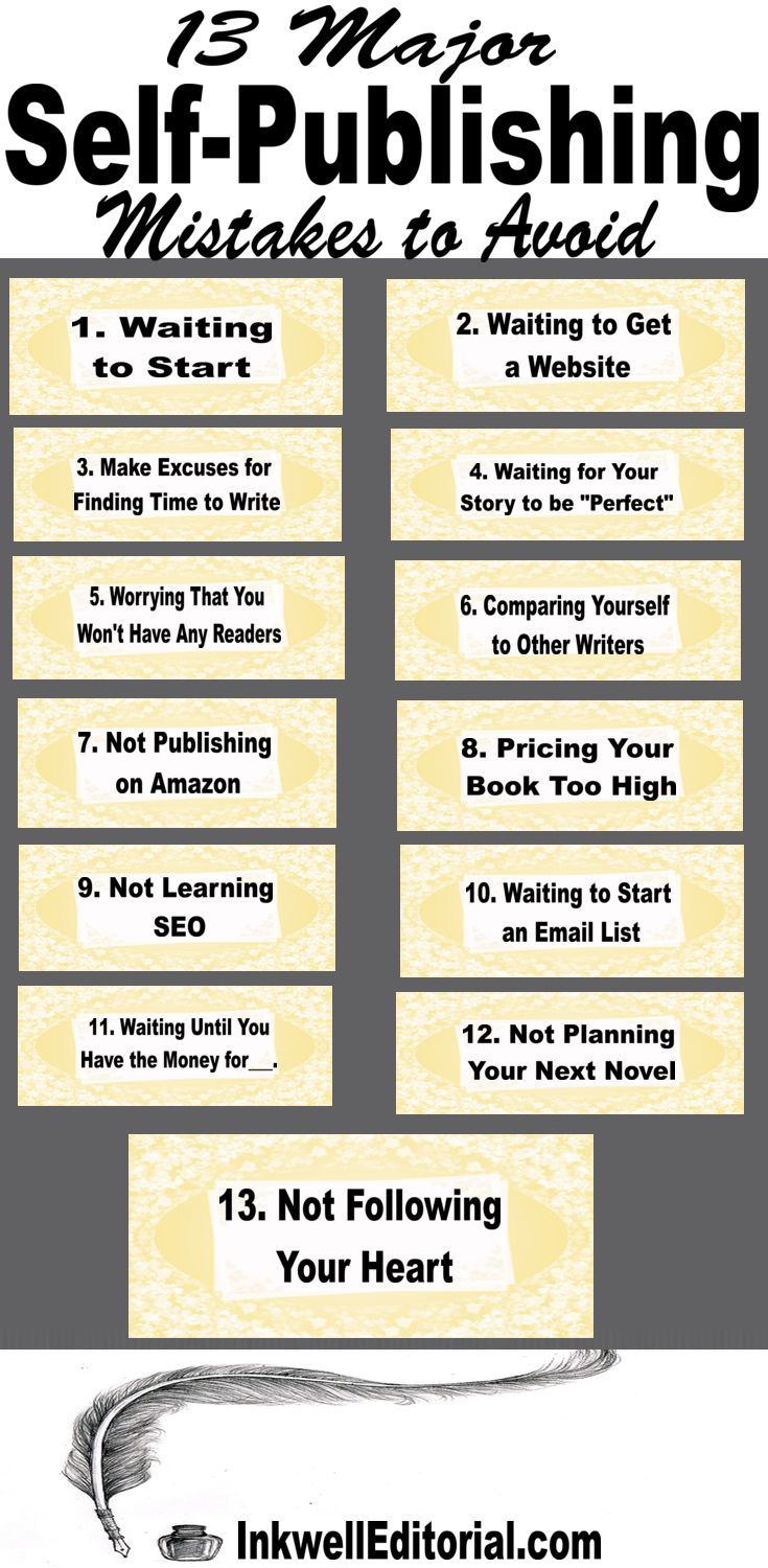"Self-Publishing Insight for New/Aspiring Writers: Are you a wanna be writer? If so, there's no need to be. You can self-publish your book and BE an author (instead of a ""wannabe""). Many could-be authors let quite a few things hold them back. In this post, we discuss 13 self-publishing mistakes that plague new and aspiring authors. Are you making any of these? If you find this post helpful, please share it with your followers. Thanks. :)"