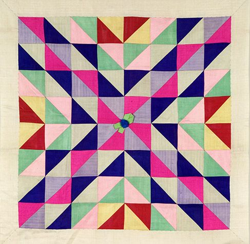Wrapping cloth (bojagi), approx. 1950-1960. Korea. Silk with patchwork design.