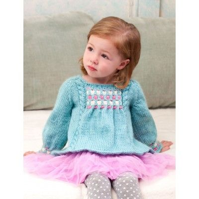 Kids in Cables Pullover, free pattern knitted girls top, jumper, dress if lon...