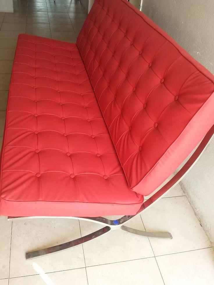 sofa barcelona 3 puestos en piel elegante blanco,rojo y negr