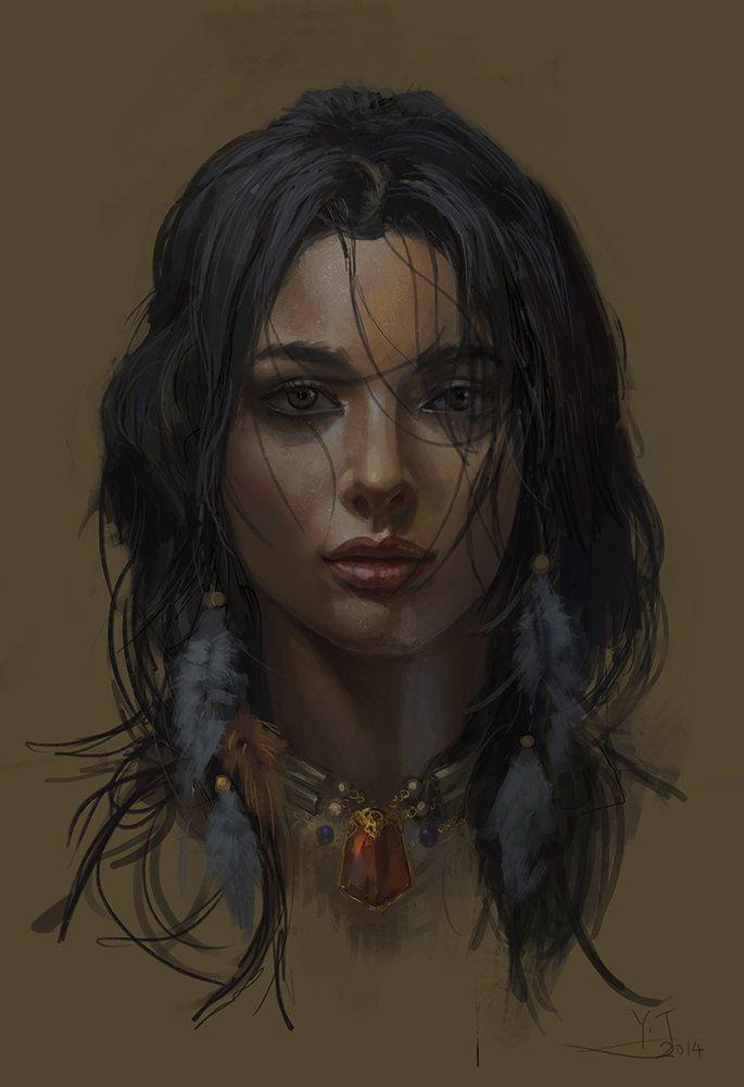 American Indian Girl, Dengyijia Liu on ArtStation at http://www.artstation.com/artwork/american-indian-girl-1a0277dc-b0fb-42a7-8f3f-bef7b6fdb1f0