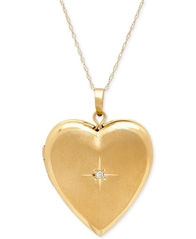 Italian Gold Diamond Accent Heart Locket Pendant Necklace In 10k Gold Reviews Necklaces Jewelry Watches Macy S In 2020 Locket Pendant Necklace Heart Locket Heart Shaped Necklace Gold