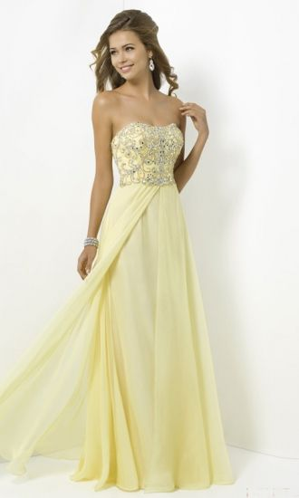 Chiffon A-line Strapless Long Formal Dresses FSAU1409P800990 - formalsydney.com