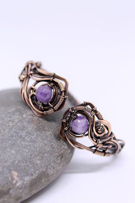 Copper Bracelet Purple Stone Nordic bracelet amethyst bangle for Women