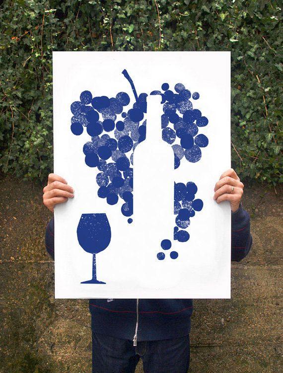 "Red Wine - Poster print  20""x27"" - archival fine art giclée print"