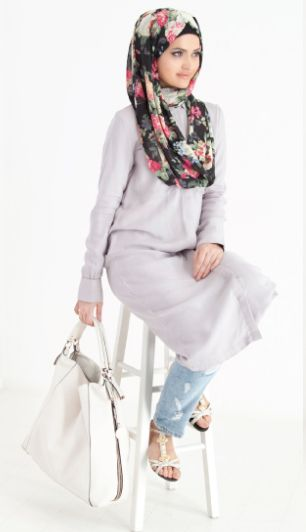 Grey Shirt Dress paired with a Black Floral Hijab | unique & sophisticated Summer Collection at www.inayahcollection.com