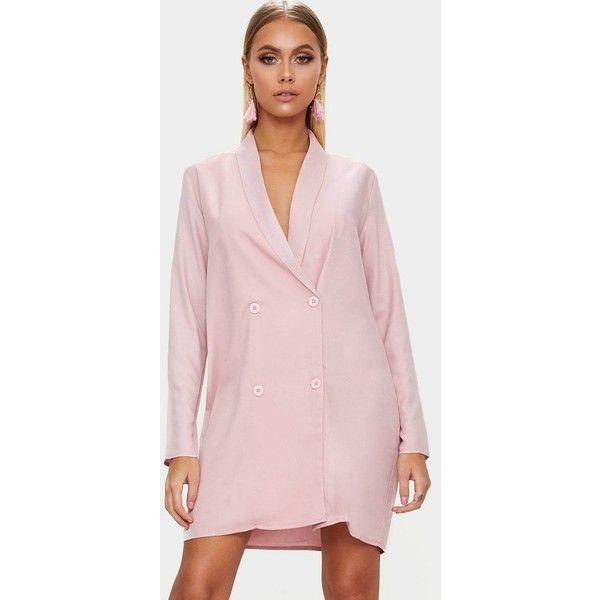Dusty Pink Oversized Blazer Shift Dress ($41) ❤ liked on Polyvore featuring dresses, dusty pink, pink dress, cocktail dresses, dusty pink dress, holiday dresses and pink shift dresses