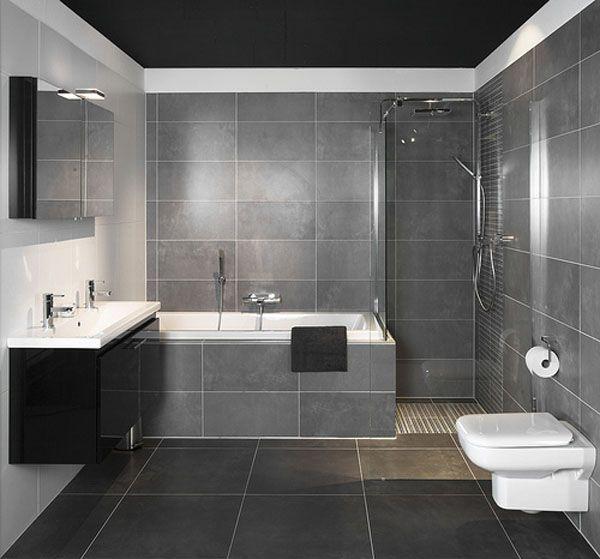 Ba os modernos peque os con ducha interiores pinterest for Banos interiores