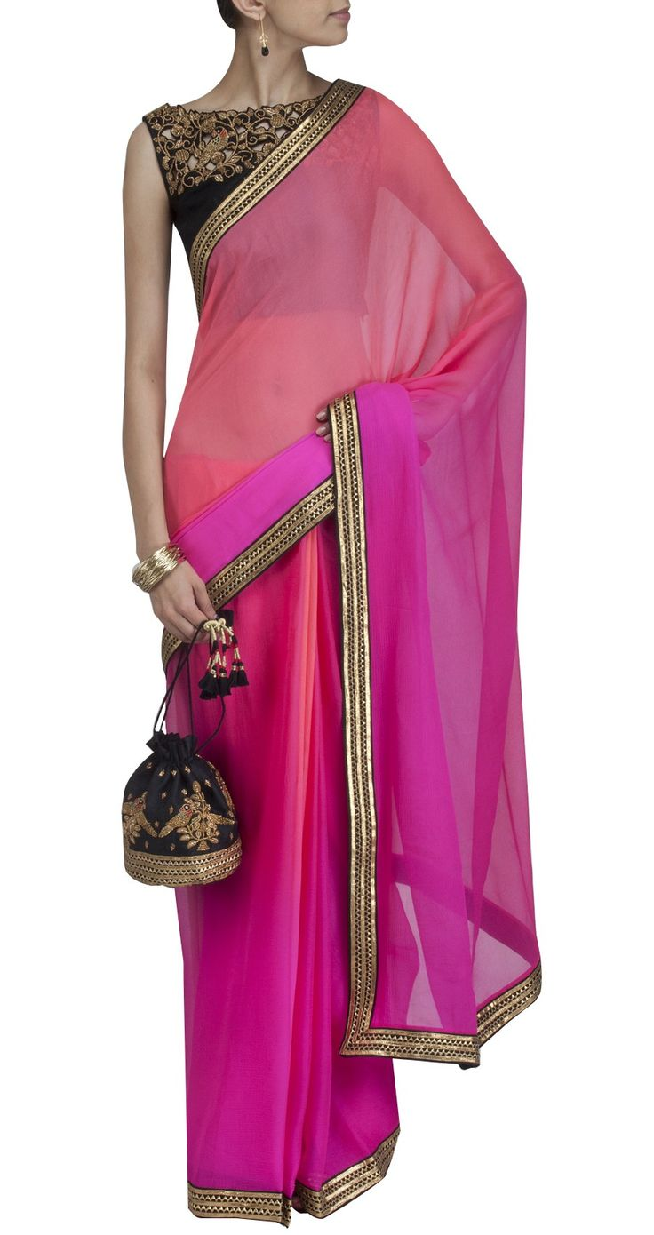 pink saree with cutwork blouse