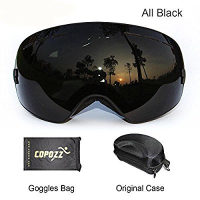 COPOZZ OTG Ski Goggles with Googles Case - Skiing,Snow,Snowboard,Snowboarding,Snowmobile Glasses with Dual Anti-fog PC REVO Lens - Anti-UV - Large Frame for Adult,Men,Women,Youth (All black)