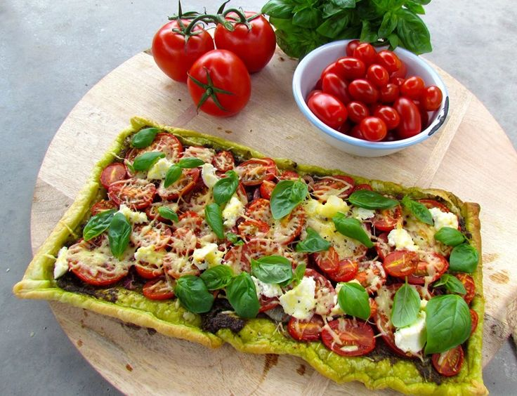 Tomato, Onion and Pesto Tart