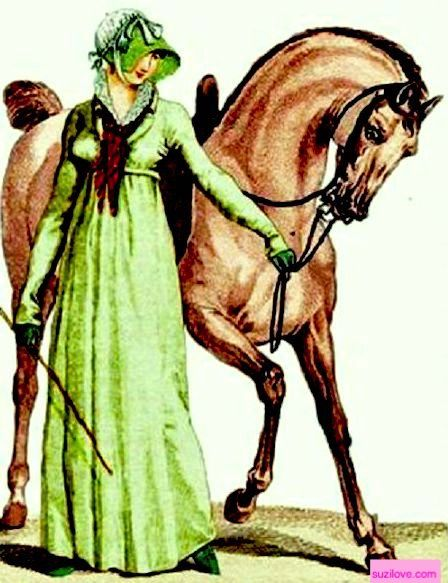 1806 Lady leading her horse. Green Nankin riding habit, green Faille hat with white taffeta decoration, green boots. Fashion Plate via Costume Parisienne. suzilove.com