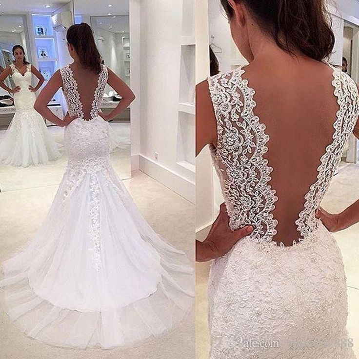>> Click to Buy << vestido de novia sirena Romantic Mermaid Wedding Dresses with Train 2017 Sexy Deep V Backless Wedding Gowns Lace Bridal Dress #Affiliate