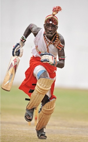 A batsman in the Maasai Warriors cricket team is pictured during pratice at a cricket grounds in Mombasa, South East Kenya. #cwc15