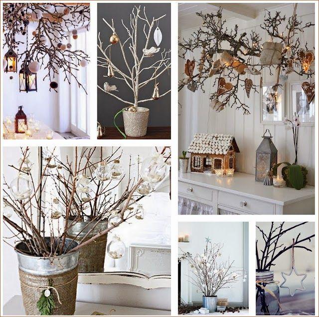 decoracin navidea con ramas pompas de ideas