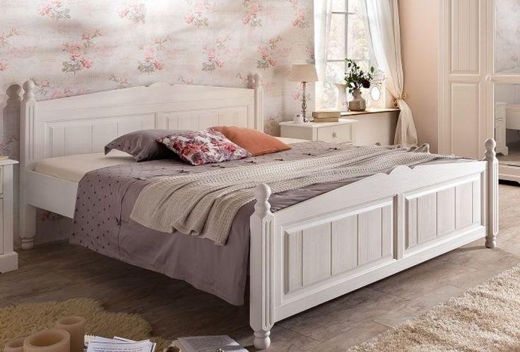 Bett 160x200 cm Pina Landhausstil weiss Pinie teilmassiv gebürst