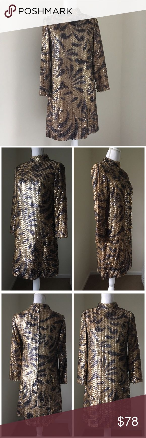 """Vintage gold and black Sequin tiger print Dress Vintage gold and black Sequin tiger print Shift Dress ~4. Absolutely gorgeous and unique ILGWU made Sequined cocktail Shift Dress. In very good vintage condition with a few inconspicuous sequins missing. Zip back.  Approximate Measurements:  17.25"""" armpit to armpit, 17"""" across waist, 35.5"""" long, 21.5"""" sleeves, 14.75"""" Shoulder to Shoulder. Vintage Dresses Long Sleeve"""