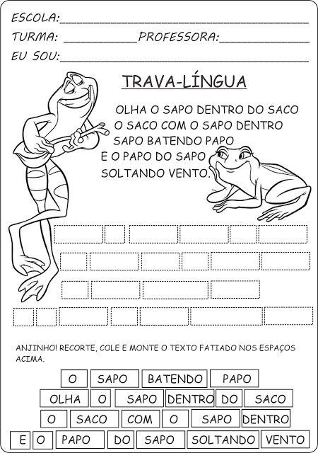 atividade com trava-língua - texto fatiado