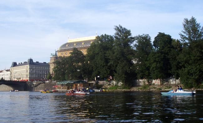 Slavic island in Prague, also known as Žofín with National Theatre behind