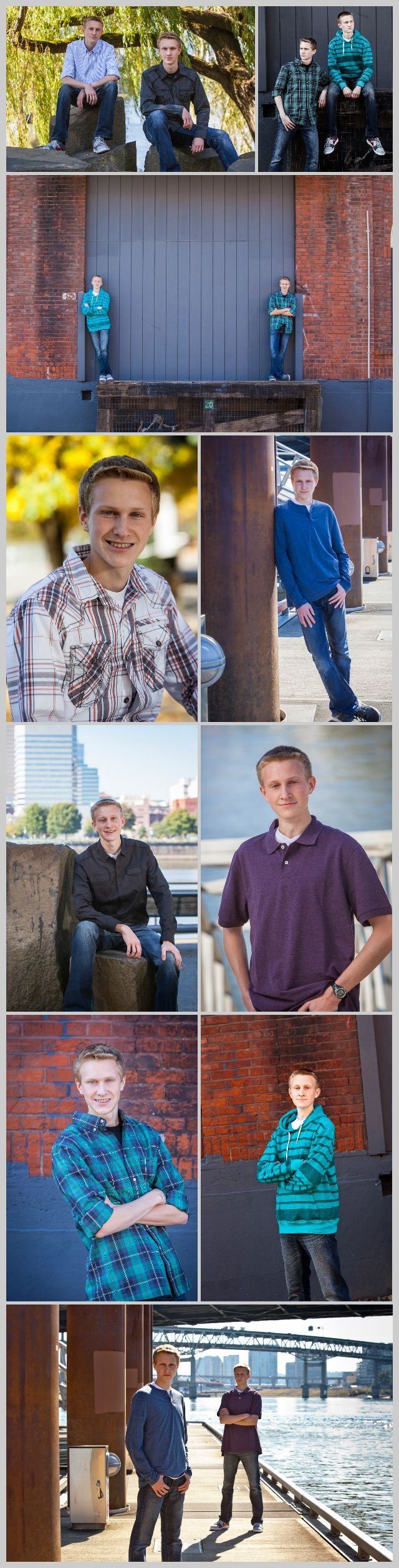 Poses for high school senior twins and their senior pictures. Oregon photographer, John Naccarato Photography