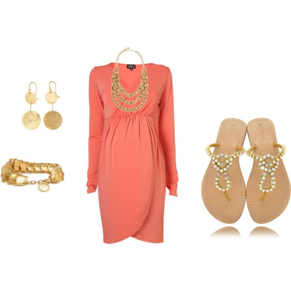 Maternity Session Look- coral and gold on #polyvore