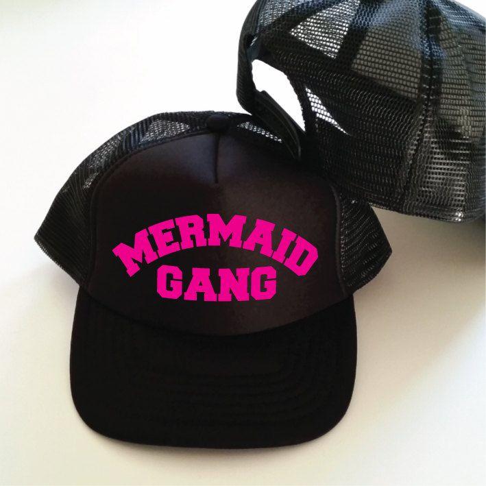 Mermaid Gang Trucker Cap. Funny Mermaid Hat. Mermaid Cap. Vacation Hat. Beach Hat. Surf Hat. Mermaid Trucker Hat. Mermaid Life. by SoPinkUK on Etsy
