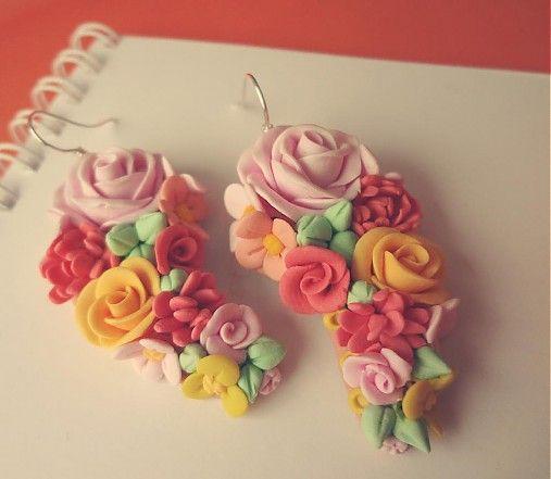 Dettus / polymer clay earrings / flowers