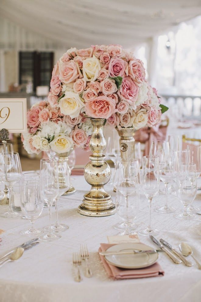 Pink roses and mercury glass ~ 12 Stunning #Wedding #Centerpieces - Photography: SMS Photography // Flowers: Prive Floral | http://www.bellethemagazine.com/2013/12/25-stunning-wedding-centerpieces-part-22.html