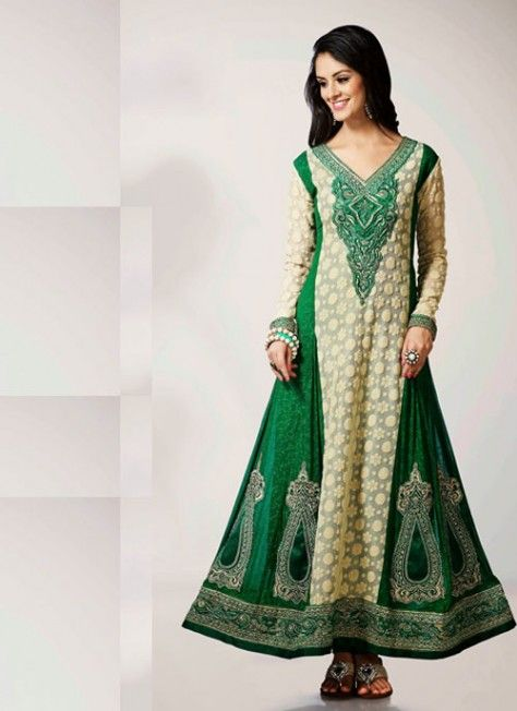 Gorgeous Beige #Brown & #Green #Suit With Heavy Zari Work