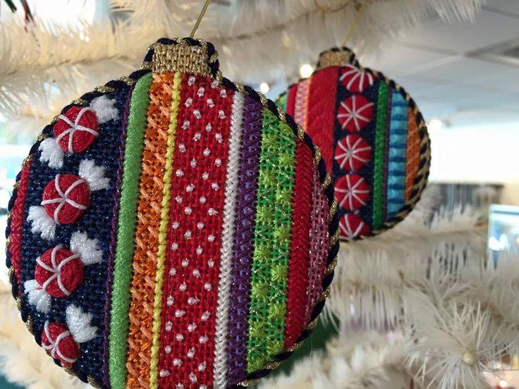 Associated Talents Candy Stripe Needlepoint Ornaments