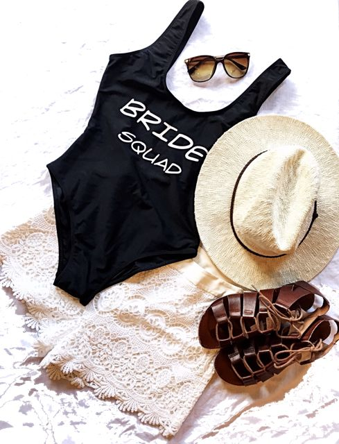 Bride Squad One Piece Swimsuit - the perfect accessory for your summer hens party!! Wifey One Piece Swimsuit also available at Nora & Elle